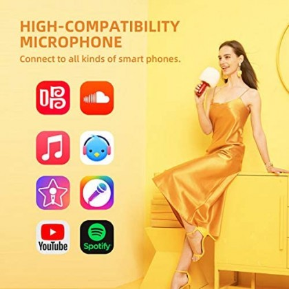 CALF Speaker Microphone G2 Wireless Bluetooth 2 in 1 Karaoke Microphone With Speaker Support Duet Mode Compatible With Smartphones