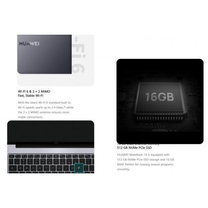 Huawei Matebook 14 i5 11th Gen 2021 /KLVD-WFH9 (16GB/512GB SSD) Original Huawei Malaysia Set + 4 Free Gift Worth RM299