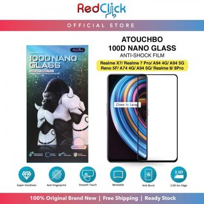 Atouchbo Realme 8/8Pro/7 Pro/X7/OPPO A94 4G/A94 5G/Reno5F/A74 4G/A94 5G/ 100D Elegant Arc Edge Nano Anti-Shock Glass Film