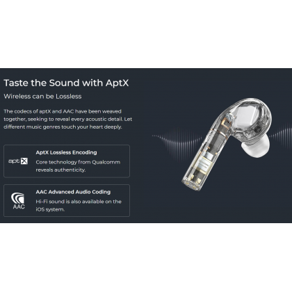 Haylou T19 TWS Bluetooth Headset Qualcomm Flagship Chipset AptX+AAC Hi-Fi Sound Two Way Mic Noise Canceling Ultra Low Delay Latency Earphones