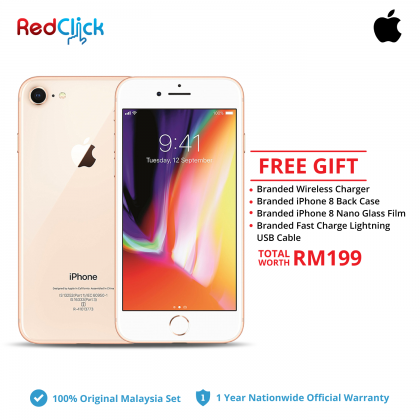 Apple iPhone 8 (64GB/ 256GB) Original Apple Malaysia Set + 4 Free Gift Worth RM199