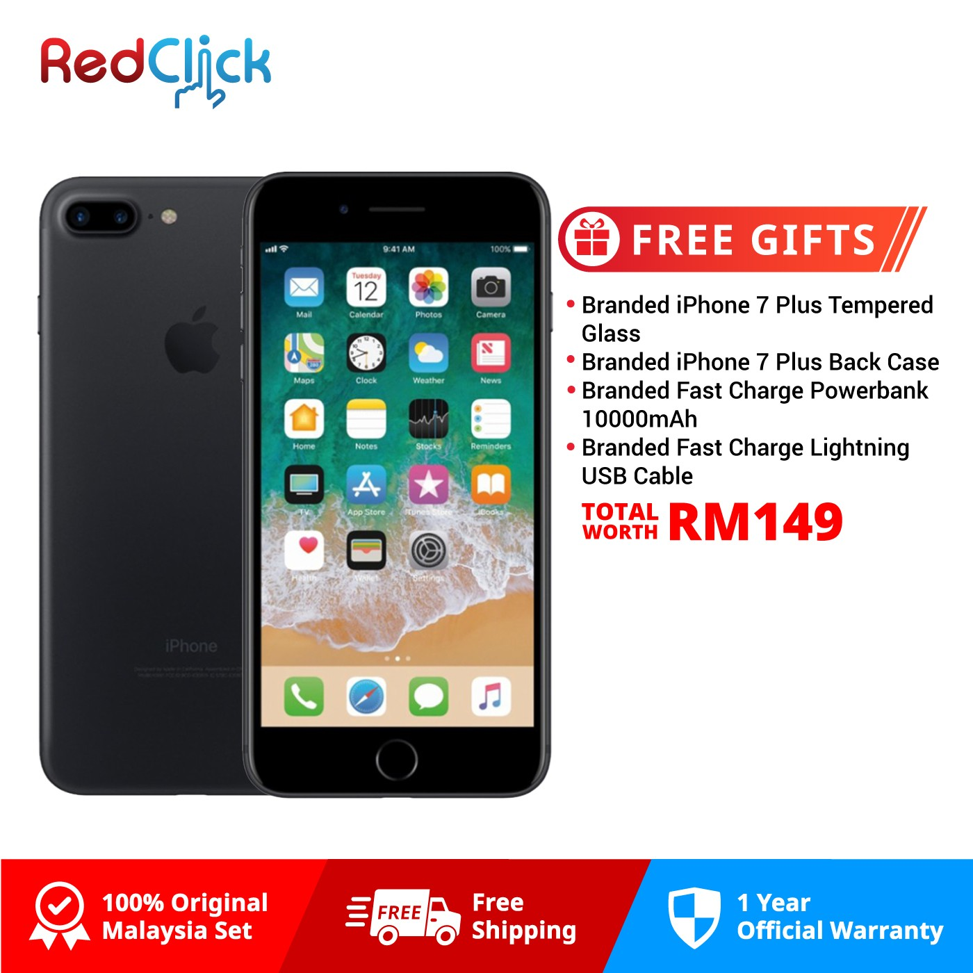 Apple iPhone 7 Plus (128GB) Original Apple Malaysia Set + 4