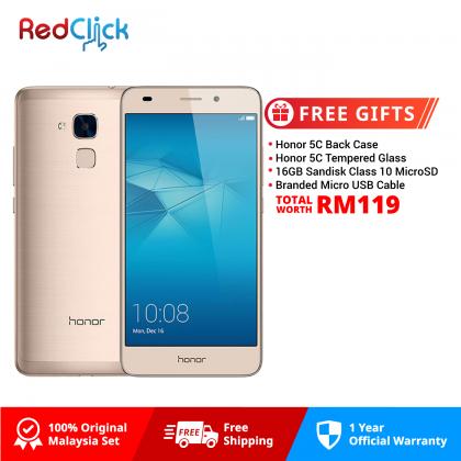 Honor 5C / NEM-L22 (2GB/16GB) Original Honor Malaysia Set + 4 Free Gift Worth RM119