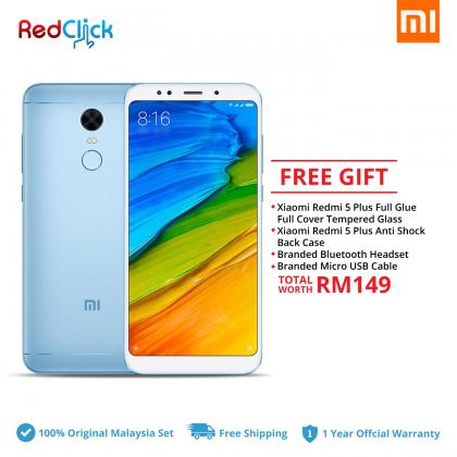 Xiaomi Redmi 5 Plus (4GB/64GB) Original Xiaomi Malaysia Set + 4 Free Gift Worth RM149