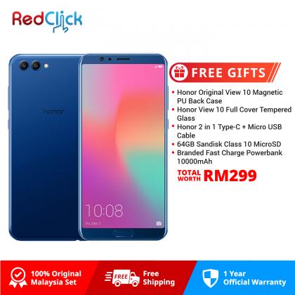 Honor View 10 (6GB/128GB) Original Honor Malaysia Set +  5 Free Gift Worth RM299