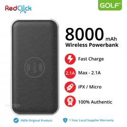 Original Golf W2 8000mAh Wireless Dual Input Fast Charge Powerbank