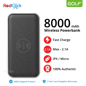 Golf Original W2 8000mAh Wireless Dual Input Fast Charge Powerbank