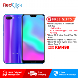 Honor 10 (4GB/128GB) Original Honor Malaysia Set + 2 Free Gift Worth RM299