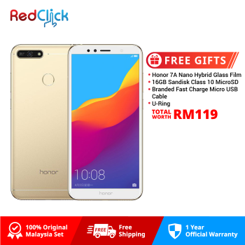 Honor 7A (2GB/16GB) Original Honor Malaysia Set + 4 Free Gift Worth RM119