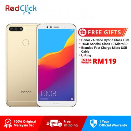 Honor 7A (2GB/16GB) Original Honor Malaysia Set + 4 Free Gift Worth RM119