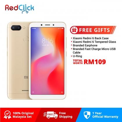 Xiaomi Redmi 6 (3GB/32GB) Original Xiaomi Malaysia Set + 5 Free Gift Worth RM109