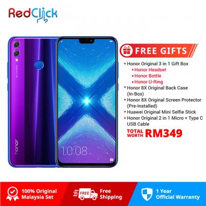 Honor 8X (4GB/128GB) Original Honor Malaysia Set + 5 Free Gift Worth RM349