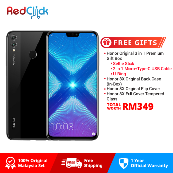 Honor 8X (4GB/128GB) Original Honor Malaysia Set + 4 Free Gift Worth RM349