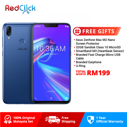 Asus Zenfone Max (M2) /zb633kl (4GB/32GB) Original Asus Malaysia Set + 6 Free Gift Worth RM199