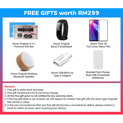 Honor View 20 (8GB/256GB) Original Honor Malaysia Set + 6 Free Gift Worth RM299