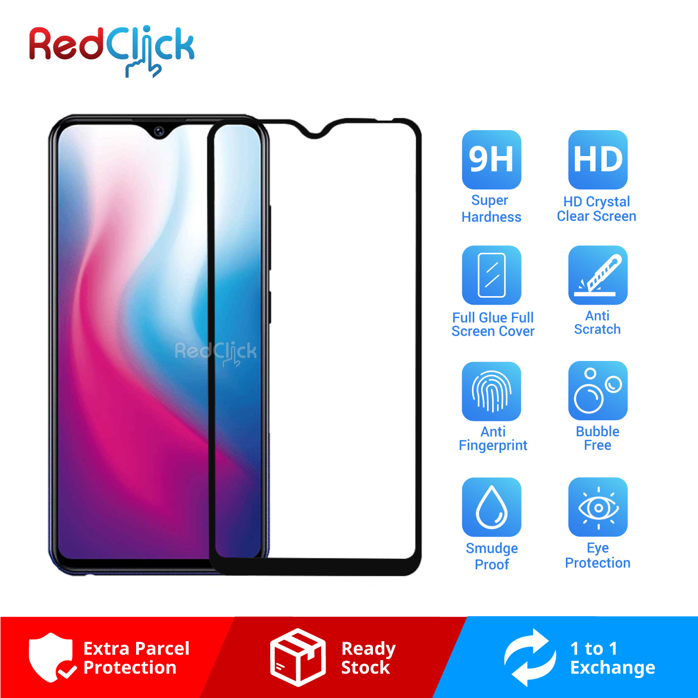 VIVO Y91 /Y91i /Y93 /Y95 Full Glue Full Cover 9H Tempered Glass