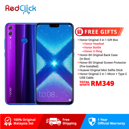 Honor 8X (4GB/128GB) Original Honor Malaysia Set + 5 Free Gift Worth RM349