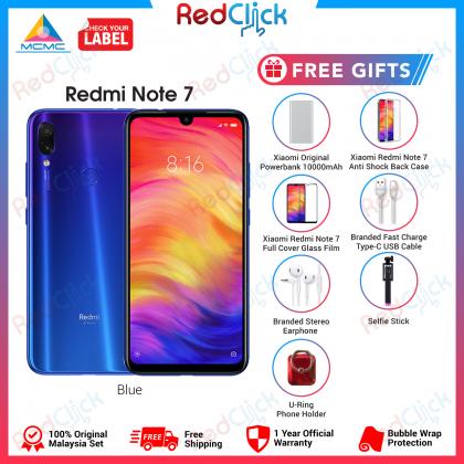 Xiaomi Redmi Note 7 (4GB/64GB) Original Xiaomi Malaysia Set + 7 Free Gift Worth RM139