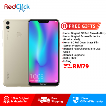 Honor 8C /BKK-LX2 (3GB/32GB) Original Honor Malaysia Set + 7 Free Gift Worth RM79