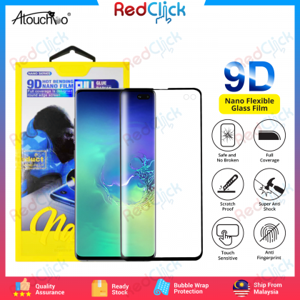 Atouchbo Samsung Galaxy S10 Plus 9D Full Glue Full Coverage Curved Screen Protector Nano Flexible Glass Film - Shock Proof