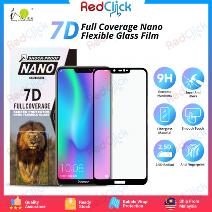 iTOP Honor 8C 7D Full Coverage Screen Protector Nano Flexible Glass Film - Shock Proof
