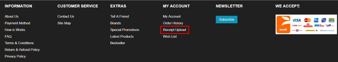 How to Upload Receipt Step 1